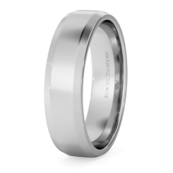 HWNB513 Bevelled Edge Wedding Ring - 5mm width, 1.4mm depth - white