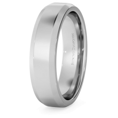 HWNB517 Bevelled Edge Wedding Ring - 5mm width, 1.8mm depth - white
