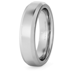 HWNB521 Bevelled Edge Wedding Ring - 5mm width, 2.3mm depth - white