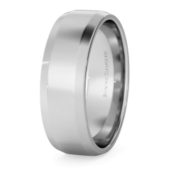 HWNB613 Bevelled Edge Wedding Ring - 6mm width, 1.4mm depth - white