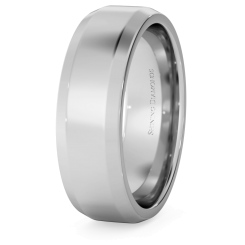 HWNB617 Bevelled Edge Wedding Ring - 6mm width, 1.8mm depth - white