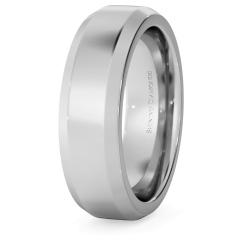 HWNB621 Bevelled Edge Wedding Ring - 6mm width, 2.3mm depth - white