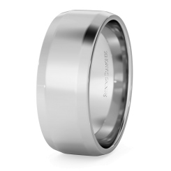 HWNB713 Bevelled Edge Wedding Ring - 7mm width, 1.4mm depth - white