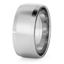 HWNB813 Bevelled Edge Wedding Ring - 8mm width, 1.4mm depth - white