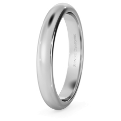 D Shape Wedding Ring - 3mm width, Medium depth - white