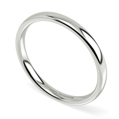 Traditional Court Wedding Ring - Lightweight, 2mm width - white