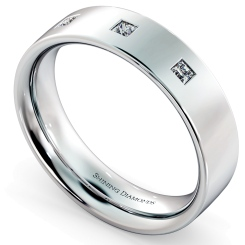 HWP015 Wedding Ring with Three Princess cut Diamonds - white