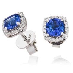 HERGTZ294 Round cut Tanzanite Single Halo Earrings - white