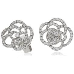HERDR125 Swirl Round cut Diamond Earrings - white