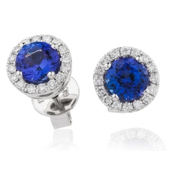 HERGTZ292 Tanzanite Gemstone Halo Earrings - white