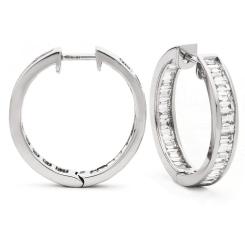 HEE154 Baguette cut Drop Diamond Earrings - white