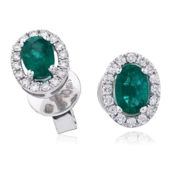 HEOGEM274 Oval cut Emerald Gemstone Halo Earrings - white