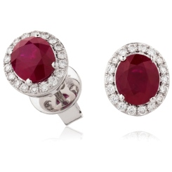 HEOGRY275 Oval cut Ruby Stone & Diamond Halo Earrings - white