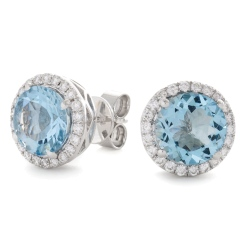 HERGAQ295 Round cut Aquamarine Single Halo Earrings - white