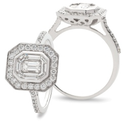 HRECL920 Octa Shaped Emerald cut Diamond Halo Cluster Ring - white