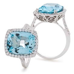 HRPGAQ1124 Thin Band Aquamarine & Diamond Single Halo Ring - white