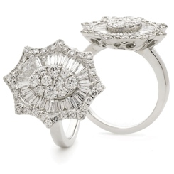 HRRCL928 Radiant cut Oval Star Shaped Halo Cluster Diamond Ring - white