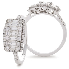 HRRCL929 Round & Baguette 3 Stone Effect Halo Cluster Diamond Ring - white