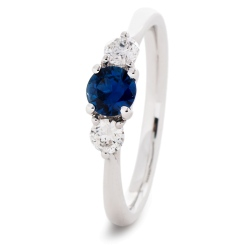HRRGBS1017 Blue Sapphire and Diamond Three Stone Ring - white