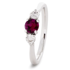 HRRGRY1019 Ruby and Diamond Three Stone Ring - white