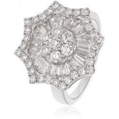 HRRCL918 Round cut Star Shaped Halo Cluster Diamond Ring - white