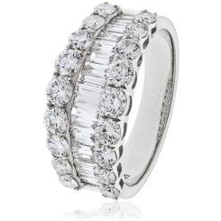 HRRHE967 Designer Baguette and Round cut Half Eternity Ring - white