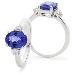 HROGTZ1088 Tanzanite & Diamond Three Stone Ring - white