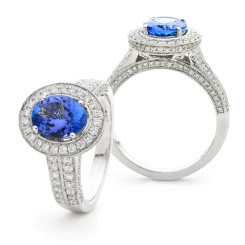 HROGTZ1097 Double Band Halo Tanzanite & Diamond Gemstone Ring - white