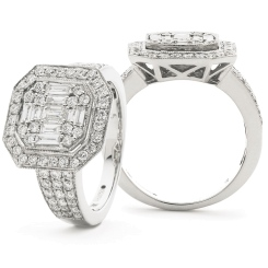 HRBCL922 Round & Baguette cut Vintage with Milgrain Cluster Diamond Ring - white
