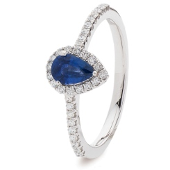HRPEGBS1055 Pear Blue Sapphire Designer Shank Halo Ring - white