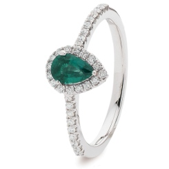 HRPEGEM1056 Pear Emerald Designer Shank Halo Ring - white