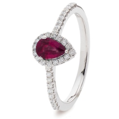 HRPEGRY1057 Pear Ruby Gemstone Designer Shank Halo Ring - white