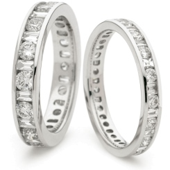 HRRFE1015 Round & Baguette Cut Diamond Full Circle Eternity Ring 1.05ct, VS clarity, F-G colour - white