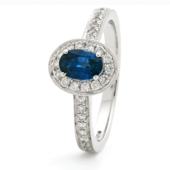 HROGBS1036 Classic Oval cut Blue Sapphire Halo Ring - white