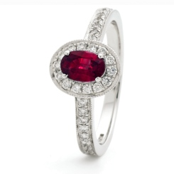 HROGRY1037 Classic Oval cut Ruby Gemstone Halo Ring - white