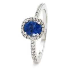 HROGBS1034 Square Halo Blue Sapphire & Diamond Halo Ring - white
