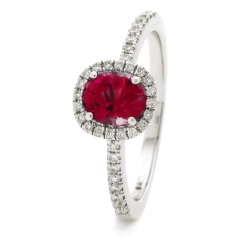 HROGRY1035 Square Halo Ruby & Diamond Halo Ring - white