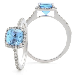HRPGAQ1104 Princess Shape Aquamarine  & Diamond Single Halo Ring - white