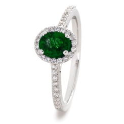 HROGEM1030 Oval cut Emerald Gemstone Halo Ring - white