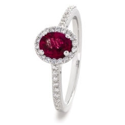 HROGRY1031 Oval cut Ruby Gemstone Halo Ring - white