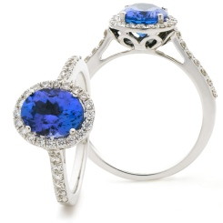 HROGTZ1105 Oval Shape Tanzanite & Diamond Single Halo Ring - white