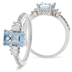 HREGAQ1129 Multistone Aquamarine & Diamond Shoulder Ring - white
