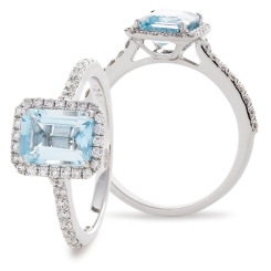 HREGAQ1125 Emerald Shape Aquamarine & Diamond Shoulder Halo Ring - white
