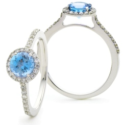 HRRGAQ1127 Round cut Aquamarine & Diamond Halo Ring - white