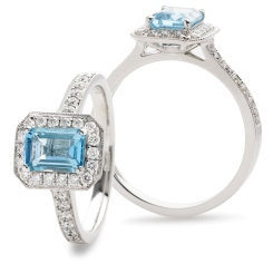 HREGAQ1126 Emerald cut Aquamarine & Diamond Halo Ring - white