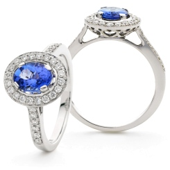 HROGTZ1096 Single Halo Tanzanite & Diamond Gemstone Ring - white