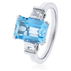 HREGAQ1128 Three Stone Aquamarine & Diamond Ring - white