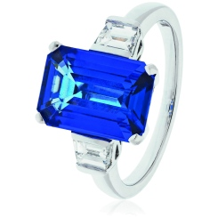 HREGTZ1092 Fancy cut Tanzanite & Diamond Three Stone Ring - white