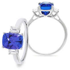 HREGTZ1091 Emerald Shape Tanzanite & Diamond Three Stone Ring - white