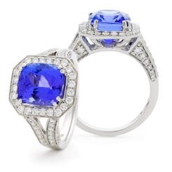HRXGTZ1110 Split Shank Tanzanite & Diamond Vintage Design Halo Ring - white